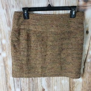 The Limited Skirt Mini Tweed Textured Neutral Wool